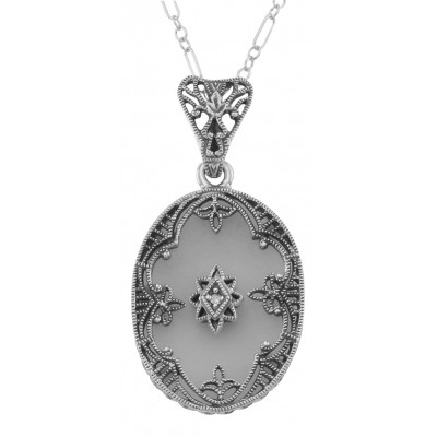 Antique Style Camphor Glass Crystal Filigree Diamond Pendant - Sterling Silver