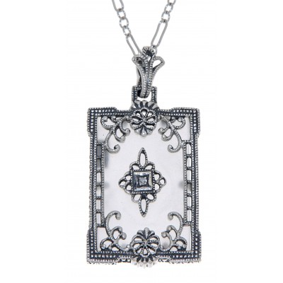 Antique Style Frosted Crystal Filigree Diamond Pendant with Chain - Sterling Silver