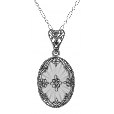 Antique Style Sunray Crystal Filigree Diamond Pendant - Sterling Silver