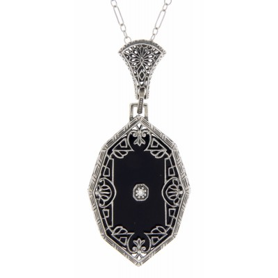 Antique Victorian Style Black Onyx Filigree Diamond Pendant - Sterling Silver