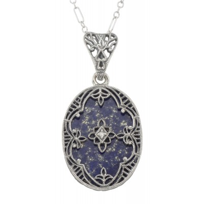 Antique Victorian Style Blue Lapis Filigree Diamond Pendant - Sterling Silver