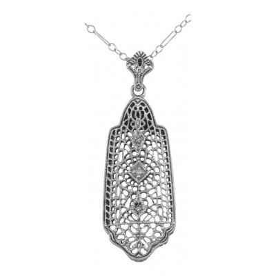 Art Deco Style 3 Diamond Filigree Pendant - Sterling Silver