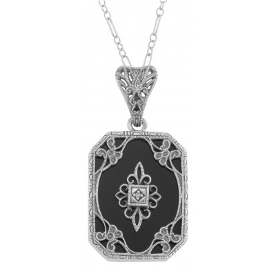 Art Deco Style Black Onyx and Diamond Pendant with 18 Chain - Sterling Silver