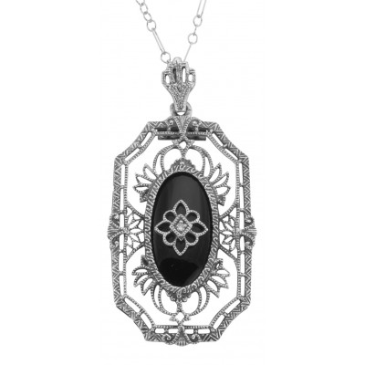 Art Deco Style Black Onyx Diamond Pendant with Chain - Sterling Silver