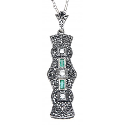 Art Deco Style Emerald and White Topaz Pendant - Sterling Silver with Chain