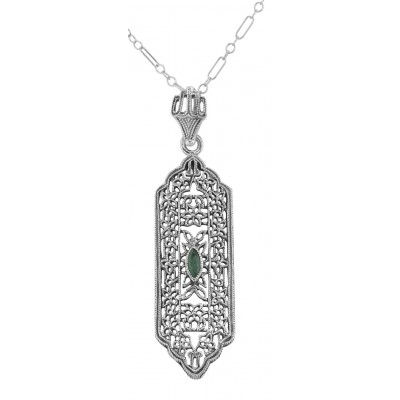 Art Deco Style  Emerald Pendant - Sterling Silver with Chain