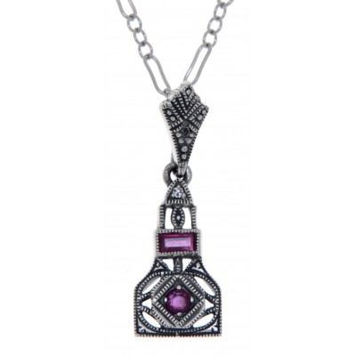 Art Deco Style Genuine Ruby and White Topaz Filigree Pendant Sterling Silver with 18 Deco Chain