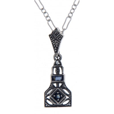 Art Deco Style Genuine Sapphire and White Topaz Filigree Pendant Sterling Silver with 18 Deco Chain