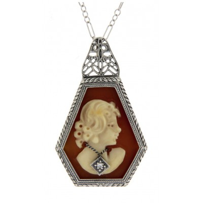 Art Deco Style Hand Carved Italian Cameo Diamond Pendant Sterling Silver