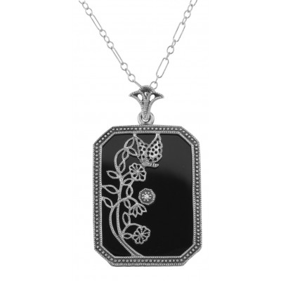 Art Deco Style Onyx / Diamond Pendant with Chain - Sterling Silver
