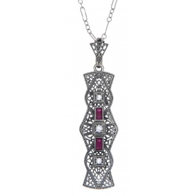 Art Deco Style Ruby and White Topaz Pendant - Sterling Silver with Chain