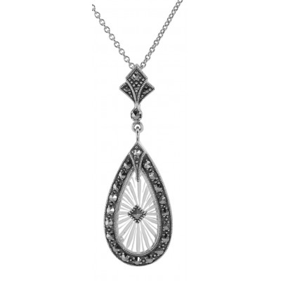 Art Deco Style Sunray Crystal and Marcasite Pendant - Sterling Silver