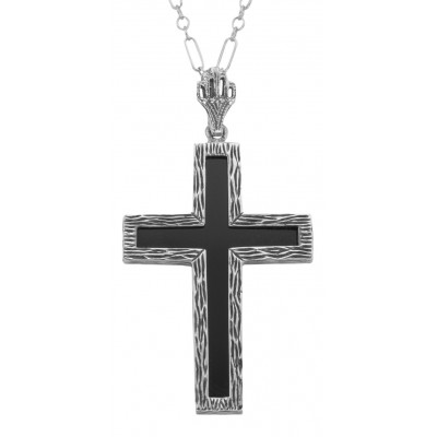 Black Onyx Cross Pendant with 18 Inch Chain - Sterling Silver