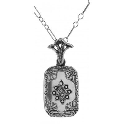 Crystal and Diamond Pendant with Chain - Sterling Silver