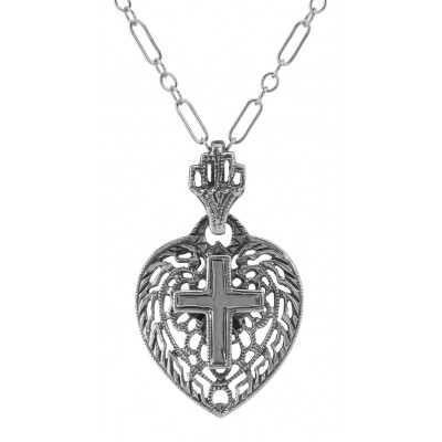 Filigree Heart Pendant with Cross and Chain - Sterling Silver