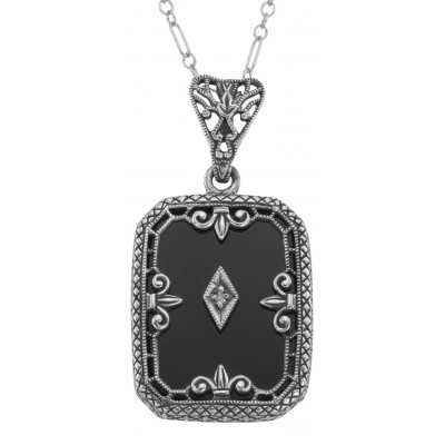 Fleur de Lis Design Onyx and Diamond Pendant with Chain Sterling Silver