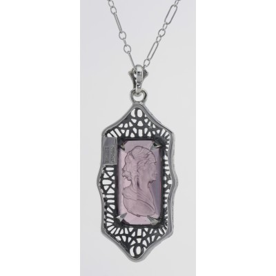 Roman Style Amethyst Crystal Intaglio Filigree Pendant - Sterling Silver