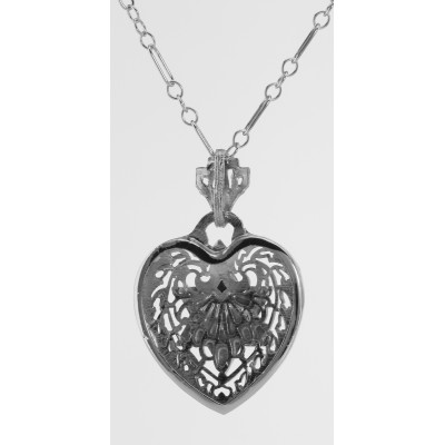 Filigree Heart Pendant w/ Star of David with Chain - Sterling Silver