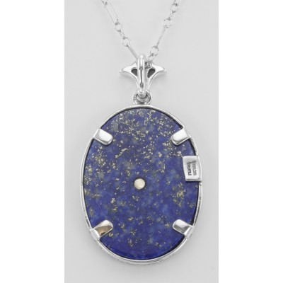 Blue Lapis Filigree Diamond Pendant with Chain - Sterling Silver