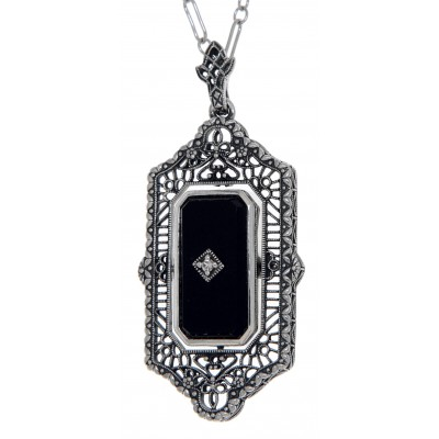 Victorian Style Black Onyx / Blue Lapis Diamond Flip Pendant with Chain Sterling Silver
