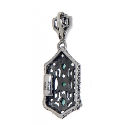 Art Deco Genuine Emerald and White Topaz Filigree Pendant with 18 chain - Sterling Silver