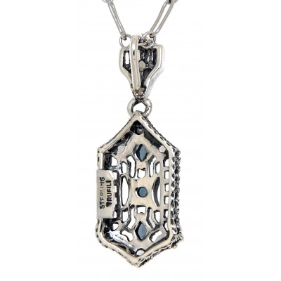 Art Deco London Blue Topaz  and White Topaz Filigree Pendant - Sterling Silver with 18 Deco Chain