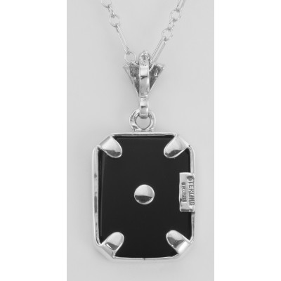 Art Deco Style White Topaz and Black Onyx Pendant with 18 Chain - Sterling Silver