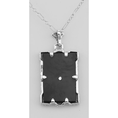 Antique Style Onyx Filigree Diamond Pendant with Chain - Sterling Silver