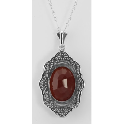 Art Deco Style Faceted Carnelian Filigree Pendant - Sterling Silver