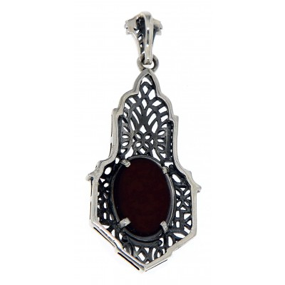 One of kind Art Deco Style Opal Pendant with Chain - Sterling Silver