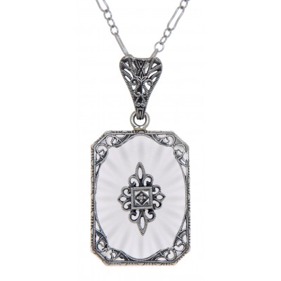 Frosted Crystal Camphor Glass Filigree Diamond Pendant Sterling Silver