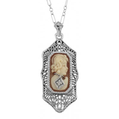 Hand Carved Italian Shell Cameo Filigree Diamond Necklace Sterling Silver