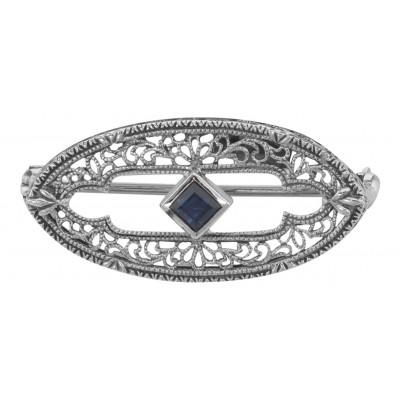Antique Style Filigree Blue Sapphire Pin / Brooch - Sterling Silver