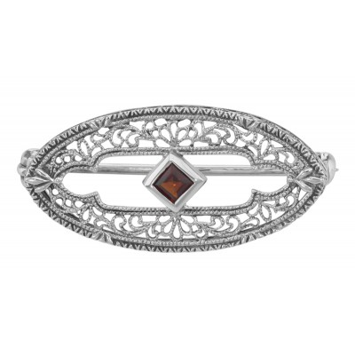 Antique Style Filigree Pin / Brooch with Genuine Garnet - Sterling Silver