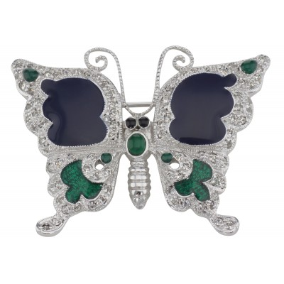 Antique Style Fine Enamel and Crystal Butterfly Pin - Sterling Silver