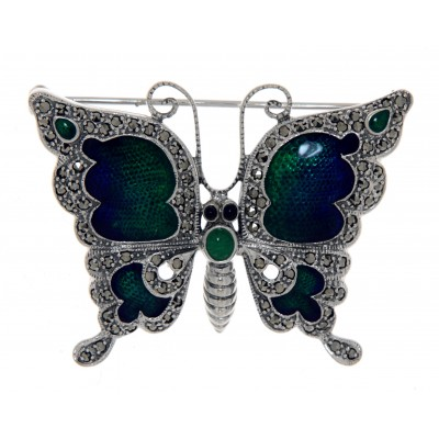 Antique Style Fine Enamel and Marcasite Butterfly Pin - Sterling Silver