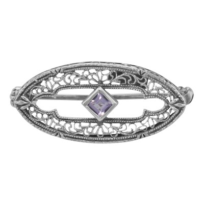 Antique Victorian Style Amethyst Pin / Brooch in fine Sterling Silver