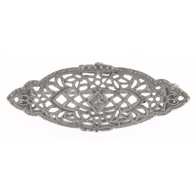 Antique Victorian Style Diamond Filigree Pin / Brooch Sterling - 14kt White Gold