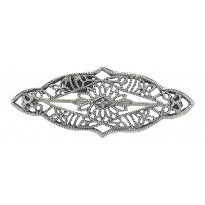Antique Victorian Style Filigree Diamond Pin / Brooch in Fine Sterling Silver