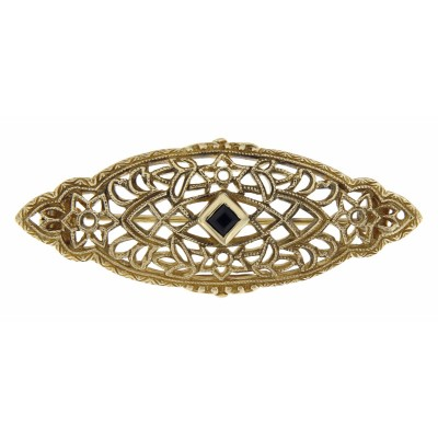 Antique Victorian Style Sapphire Filigree Pin / Brooch 14kt Yellow Gold