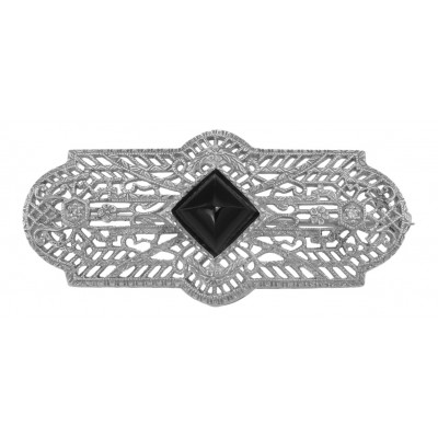 Art Deco Style Black Onyx and Diamond Pin / Brooch - Sterling Silver