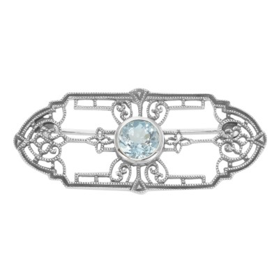 Art Deco Style Genuine Blue Topaz Filigree Pin / Brooch - Sterling Silver