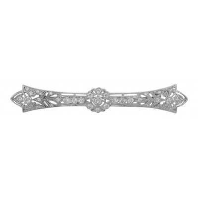 Classic Antique Style Filigree Bar Pin / Brooch w/ CZ - Sterling Silver