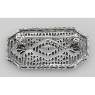 Art Deco Style Filigree Diamond Pin / Brooch - Sterling Silver