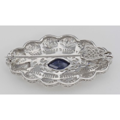Beautiful Syn Blue Sapphire Filigree Pin / Brooch or Pendant Sterling Silver