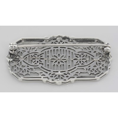 Antique Style Filigree Brooch - Pin with 3 Diamonds - Sterling Silver