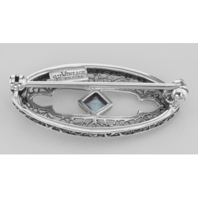 Antique Style Filigree Pin / Brooch with Genuine Blue Topaz Sterling Silver