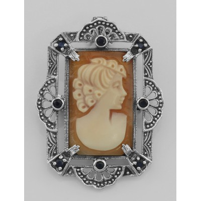 Lovely Italian Shell Cameo Pin or Pendant with Blue Sapphires - Sterling Silver