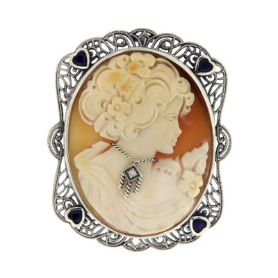 Large Italian Handcarved Cameo Pin Pendant w/ Sterling Silver Filigree Frame
