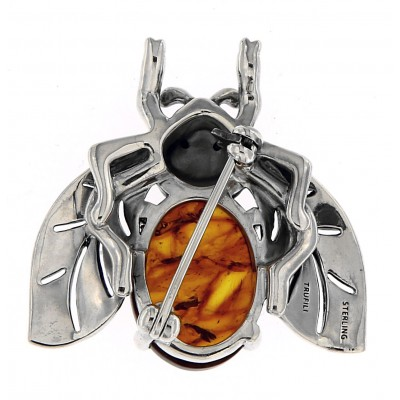 Antique Style Amber Garnet and Marcasite BumbleBee Pin - Sterling Silver
